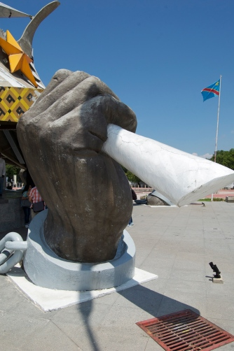 One of the five hands surrounding Laurent Kabila's tomb - representing the five countries that helped him stage his coup to overthrow Mobutu