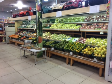 The fruit section in the nicest grocery store in Kinshasa